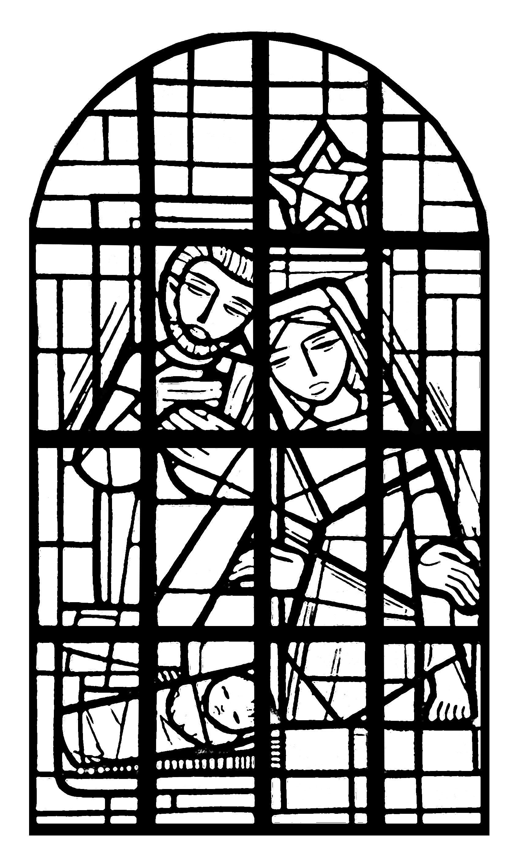 Coloriage exclusif cr partir d 39 un vitrail pr sent dans la nef de l 39 glise de l 39 immacul e - Dessin eglise ...