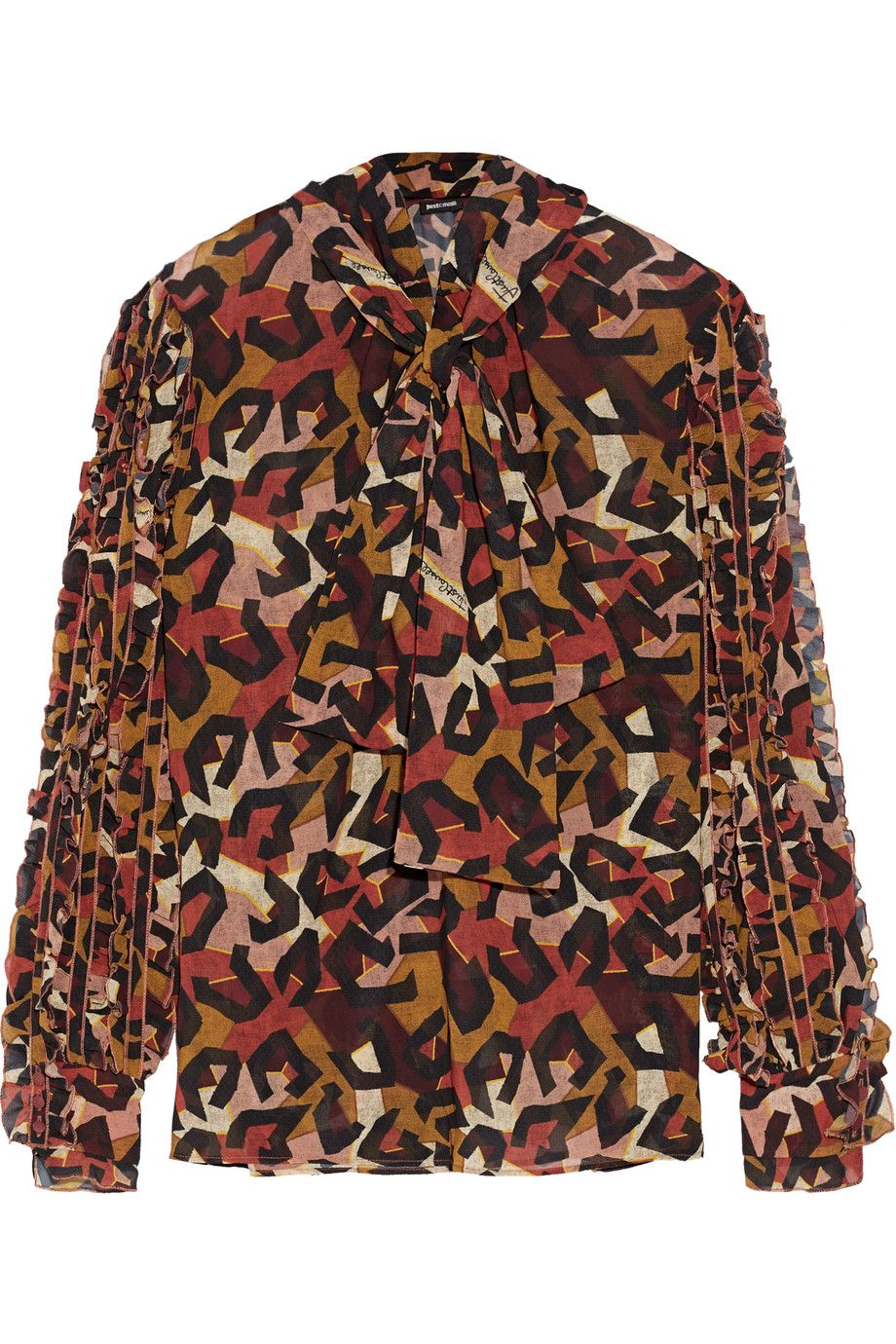 JUST CAVALLI Ruffle-Trimmed Printed Georgette Top. #justcavalli #cloth #top