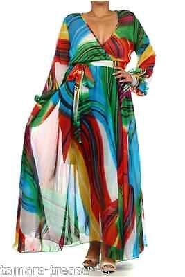 531eac11766 1X SHEER Red Green Blue FULL SWEEP Chiffon Wrap MAXI DRESS Long Skirt PARTY  Plus