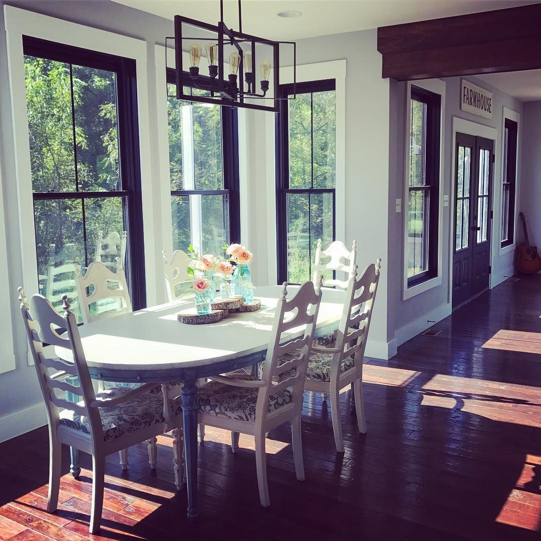 Gray Trim White Walls Living Room Transitional With: Farmhouse Dining Room With Black Windows, Grey Walls And