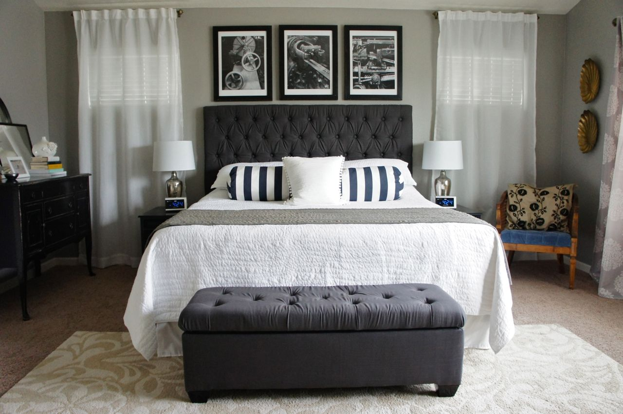 Bedroom Chic Gray Bedroom Decoration With Elegant Bed With Tailored Headboard For Small Master