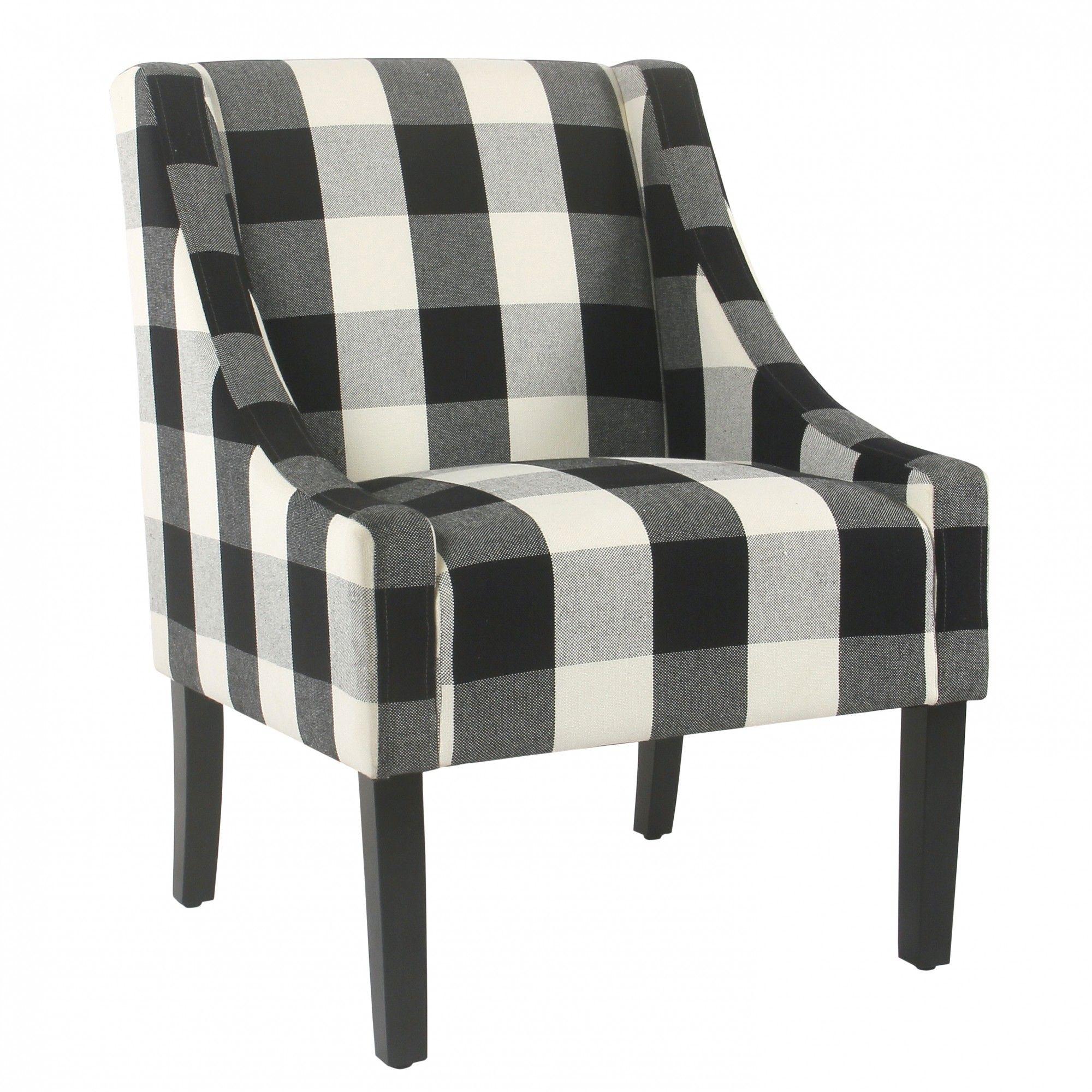 Modern Swoop Accent Chair Black Plaid Plaid Chair Accent