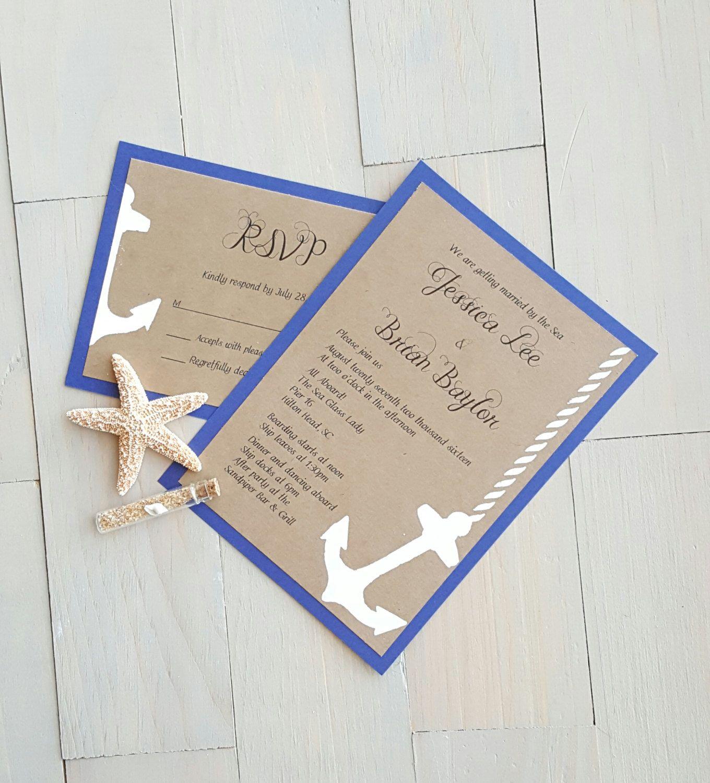 Nautical Wedding Invitation, Anchor Invitations, Beach Wedding ...