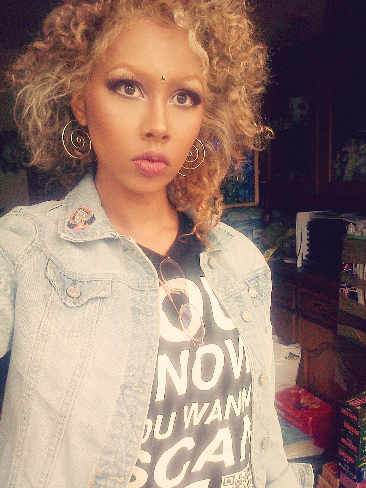 Cute blonde short curls indian makeup eye enlarging makeup the