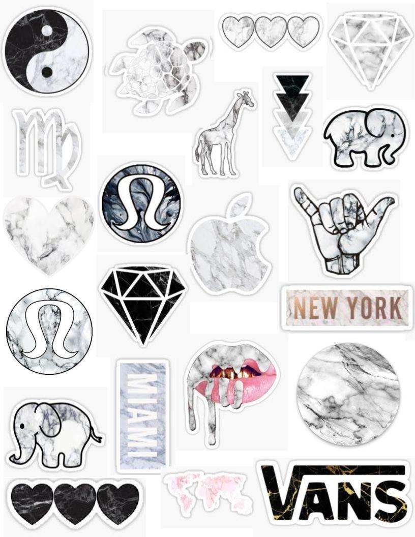 Tumblr marble sticker pack elephant ivory ella white black pink counter top granite tie dye