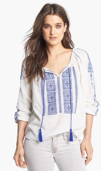 e97ca020b0eef6 blue and white peasant shirt - Google Search | Boho Minimalist ...