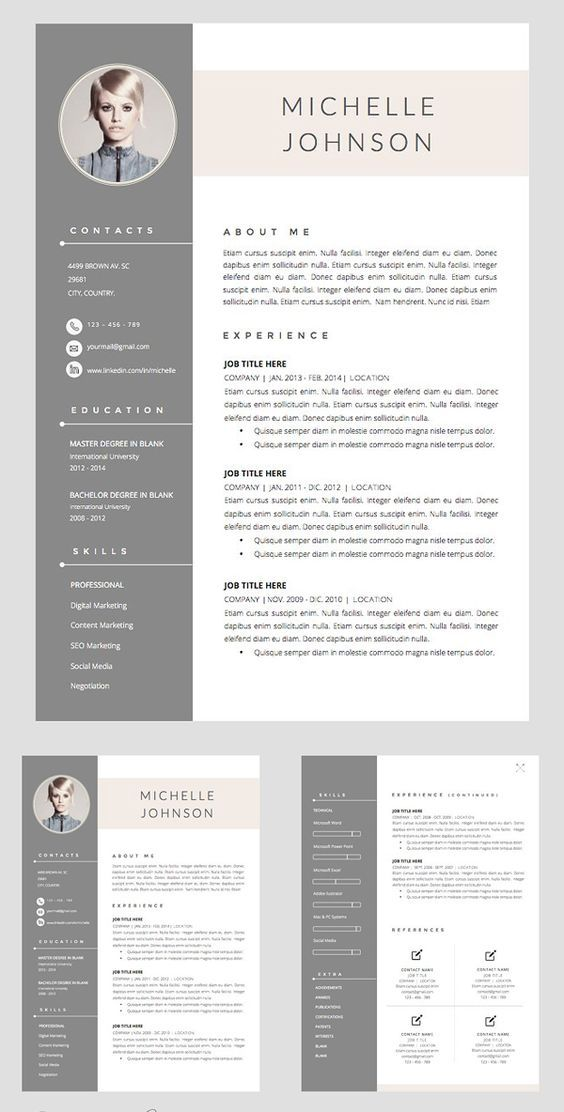 Professional resume template instant download, 3 page resume, resume template word, CV, CV template,