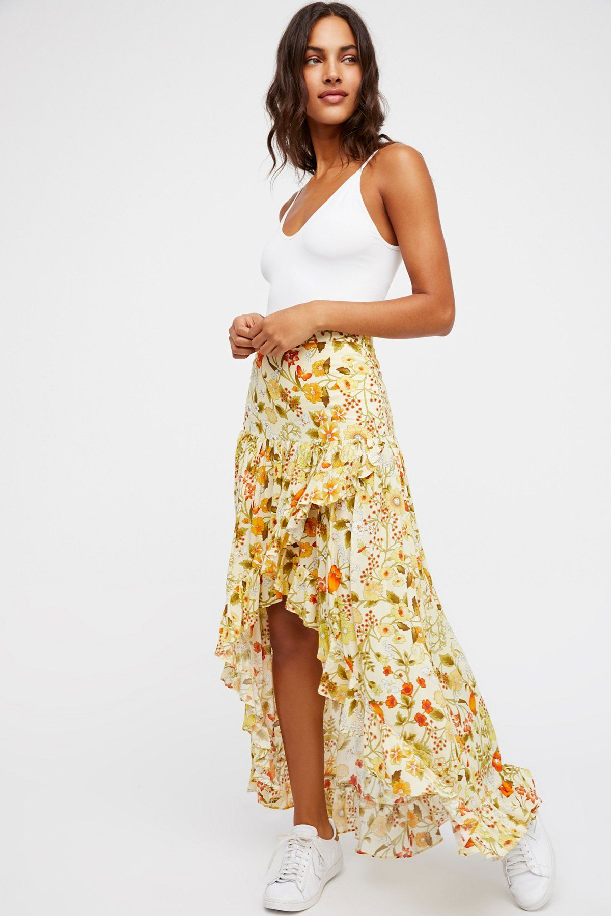 7acf16f01a Sayulita Frill Split Skirt | Floral printed maxi skirt featured in an  exaggerated high low silhouette. * Ruffle trim * Hidden side zip closure *  Surplice ...