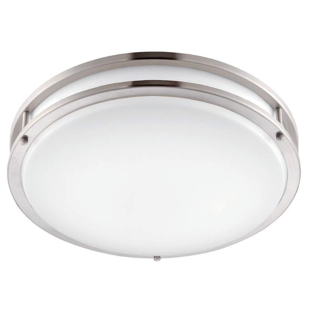 Envirolite 10 In Brushed Nickel White Led Ceiling Low