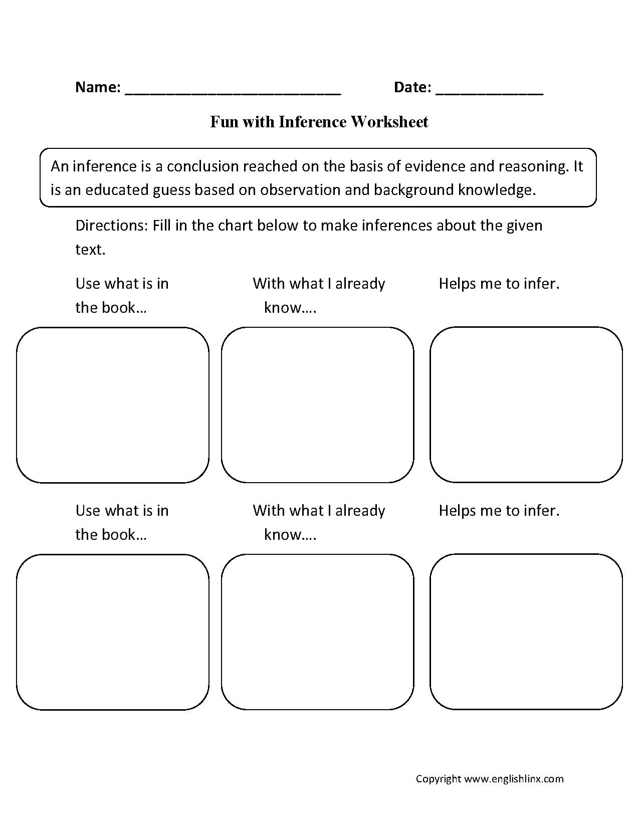 Fun With Inference Worksheets