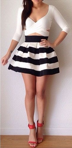 A Line Black And White Skirt