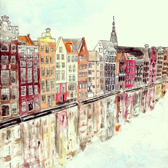 Amsterdam Houses  Watercolour Art Print by IllustratedByRebecca