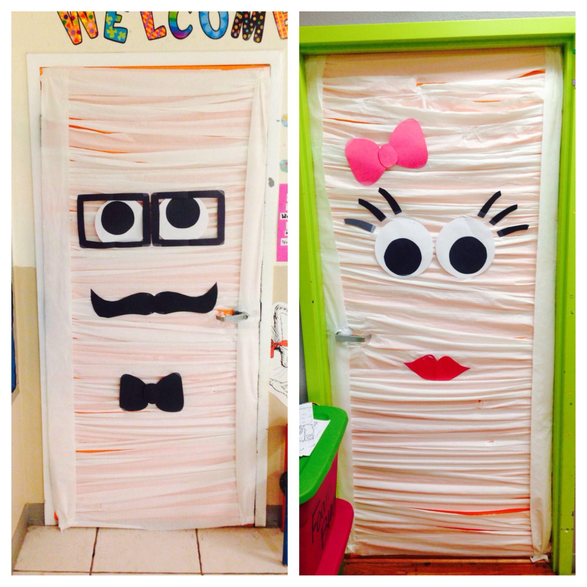 Our Double Sided Halloween Mummy Door Decoration Now Let S See How Long It Lasts School Door Decorations Halloween Door Decorations Halloween Party Decor Diy