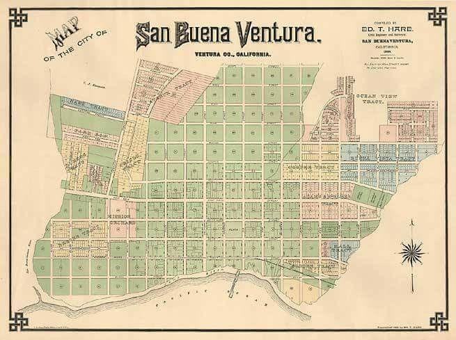 Map of San Buenaventura in 1888 Ventura California home sweet