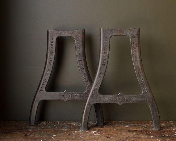 Vintage Industrial Metal Table Legs 1930 S Original