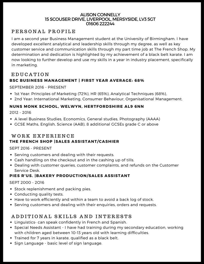 Cv Template Undergraduate Student Cv examples, Cv