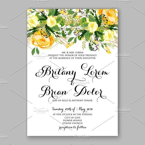 Wedding Invitation Yellow Rose Watercolor Flowers
