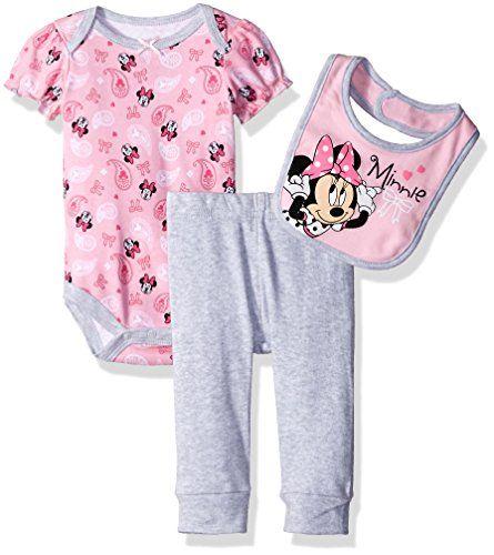 Princess Baby Birthday Outfit With Pyjamas /& Bib Set Pink Girls Minnie Mouse
