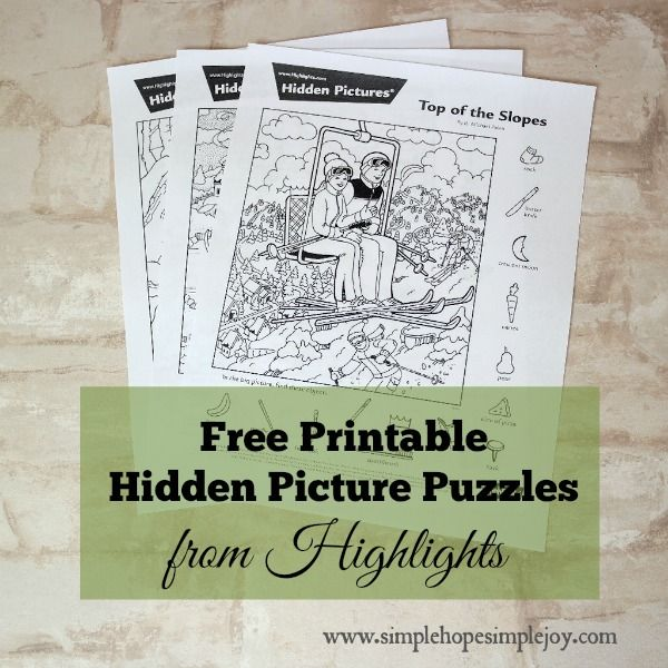 Free Printable Hidden Puzzles from Highlights