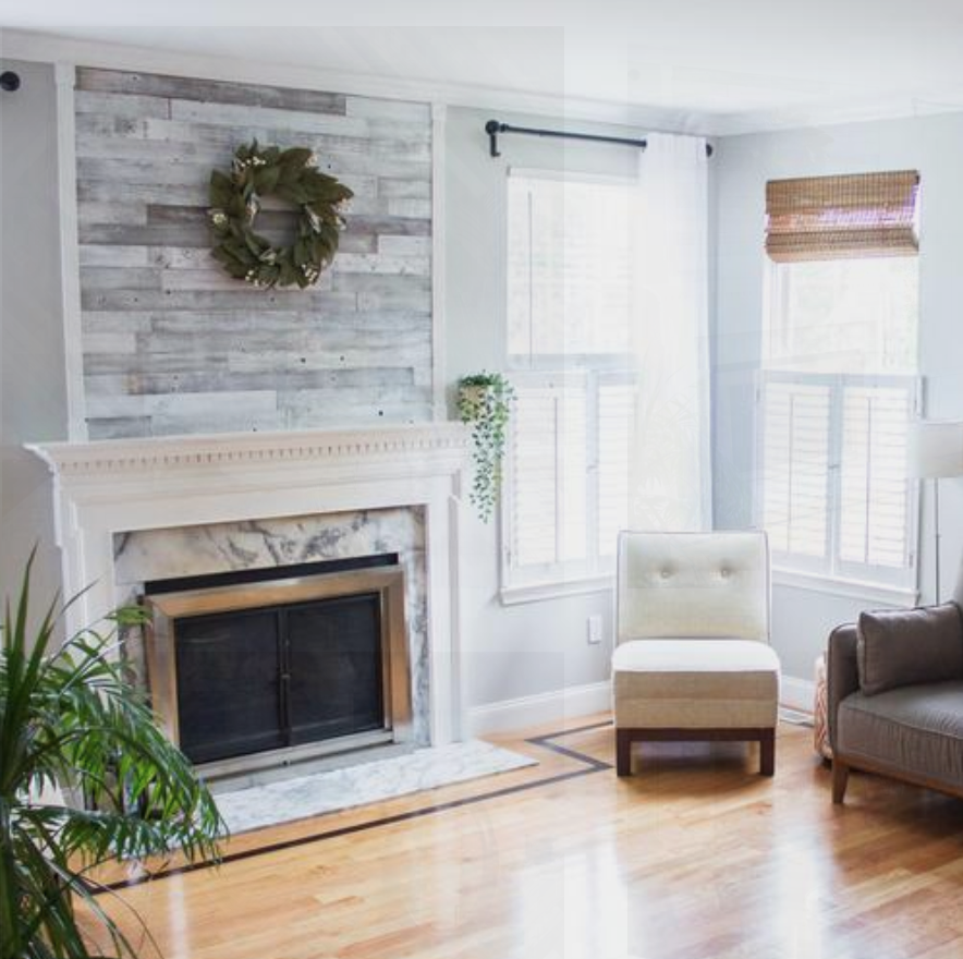White Wood Pallet Accent Wall Ideas: Whitewash Fireplace Accent Meg