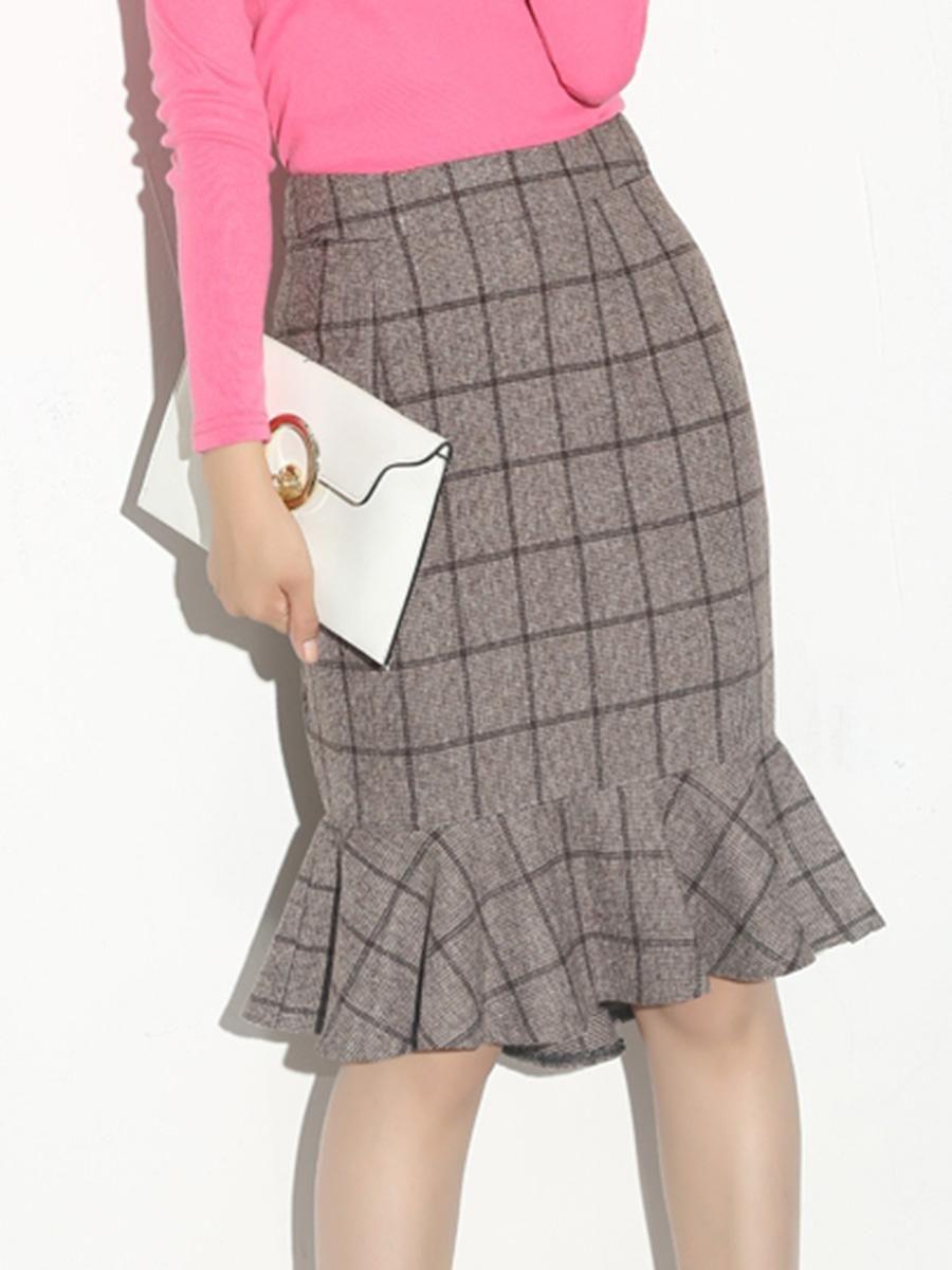 Berrylook Berrylook Plaid Mermaid Woolen Midi Skirt Adorewe Com Skirts Midi Skirt Womens Pencil Skirts