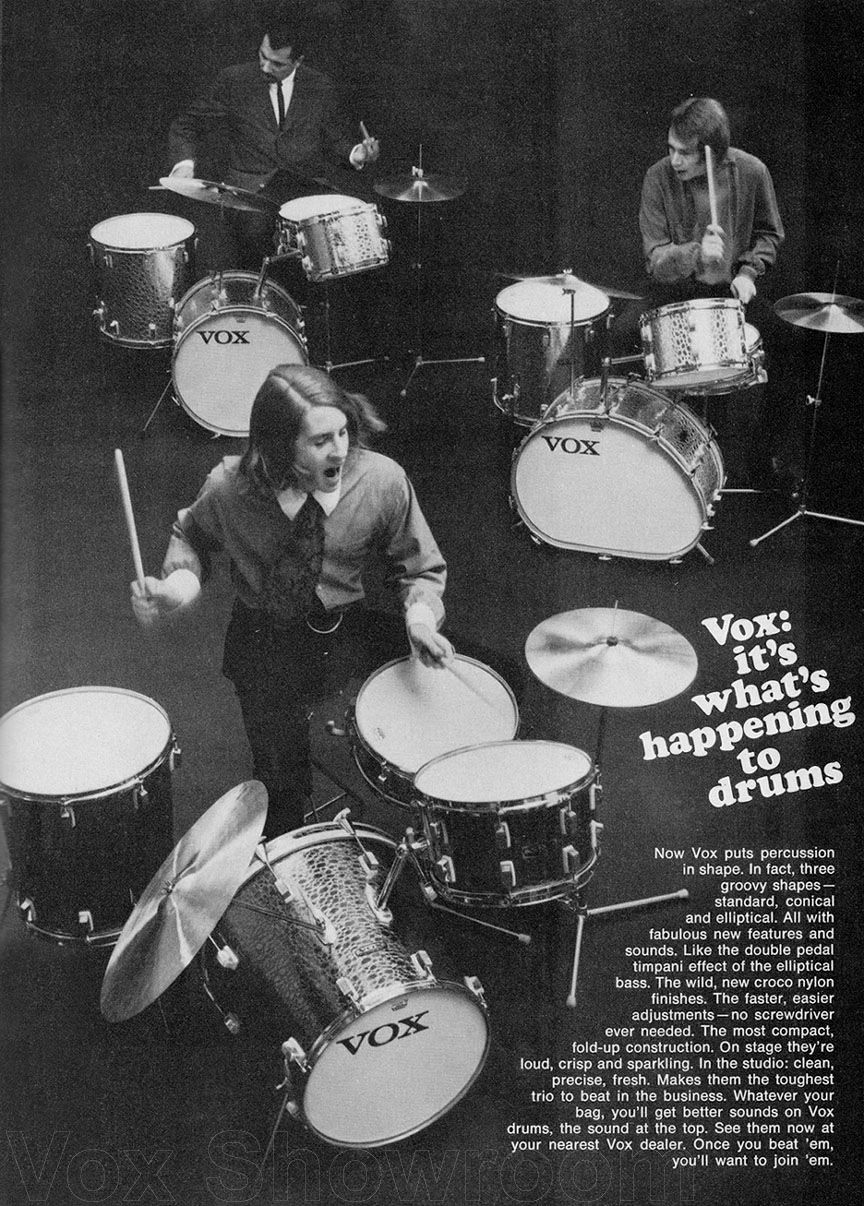 "Vox drums - St. Louis Music Supply Co., the licensed importer of Trixon drums for the U.S., leased the Vox name from the Thomas Organ Co. and, by agreement with Trixon, renamed a majority of their Trixon imports ""Vox."" The plan was not a success, and Trixon/Vox did not achieve much popularity in the U.S."