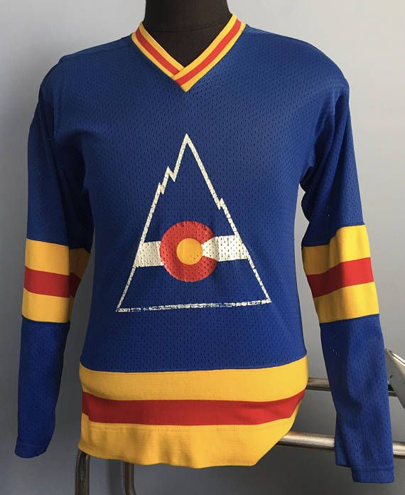 pretty nice 2f6fc a6b4d 70s 80s Vintage Colorado Rockies NHL hockey long sleeved ...
