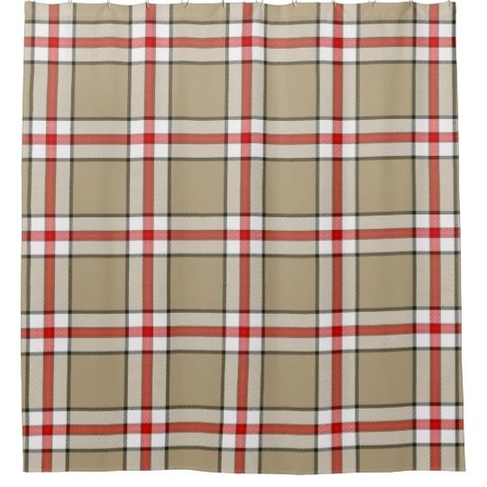 Taupe Red Plaid Shower Curtain