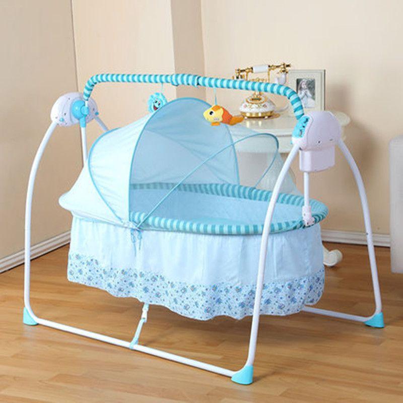 Electric baby crib rocker mosquito net rockers crib for Baby crib net