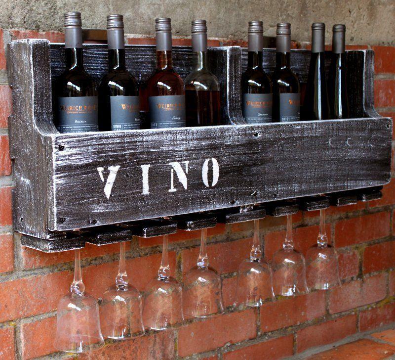 Weinregal Vino Wein Glas Glaserhalter Flaschenregal 90 Cm Breit Holz Antik Braun Flaschenregal Flaschen Regal Weinregale