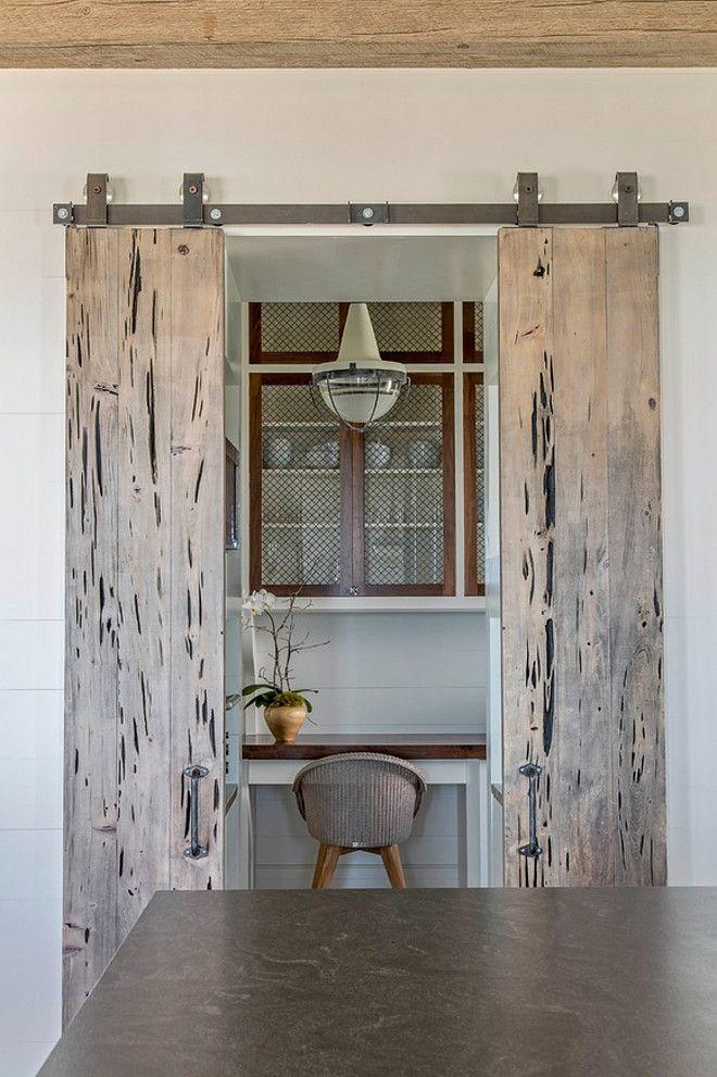 Pecky Cypress Sliding Barn Doors Leading To Butleru0027s Pantry | Herlong U0026  Associates Architects + Interiors