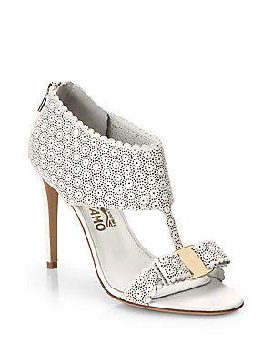 Salvatore Ferragamo ~ Pellas White Lace Sandals 2014 | So
