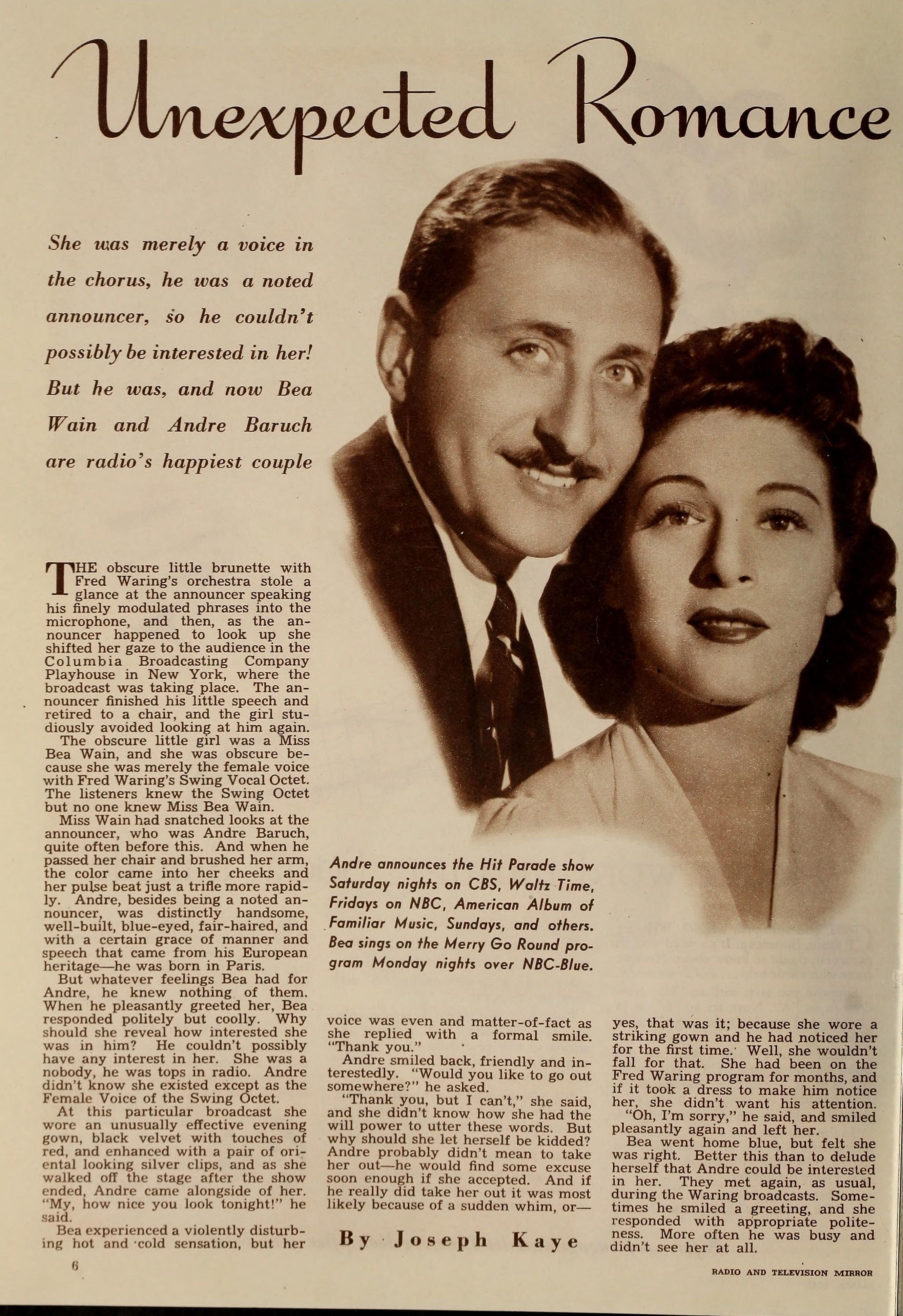 Bea Wain and André Baruch