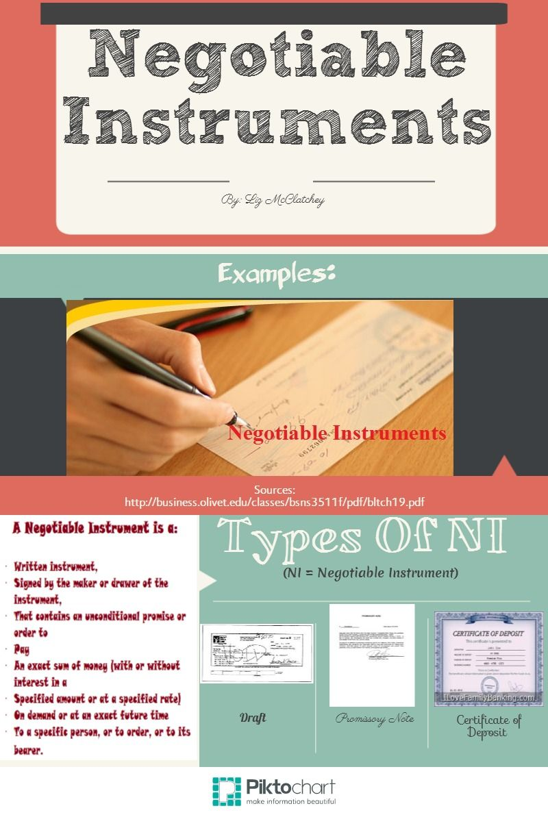 Negotiable Instruments Bus Law Projects Pinterest Instruments