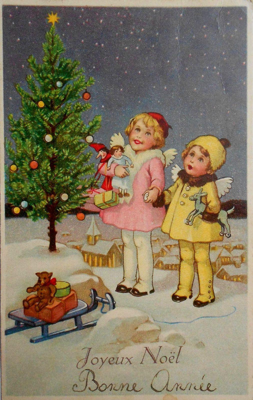 Weihnachten 2 Engel Mit Spielsachen Bestaunen Christbaum C1930