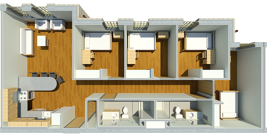 Typical 4 Bedroom Apartment In West Village Texas Tech Dorm University