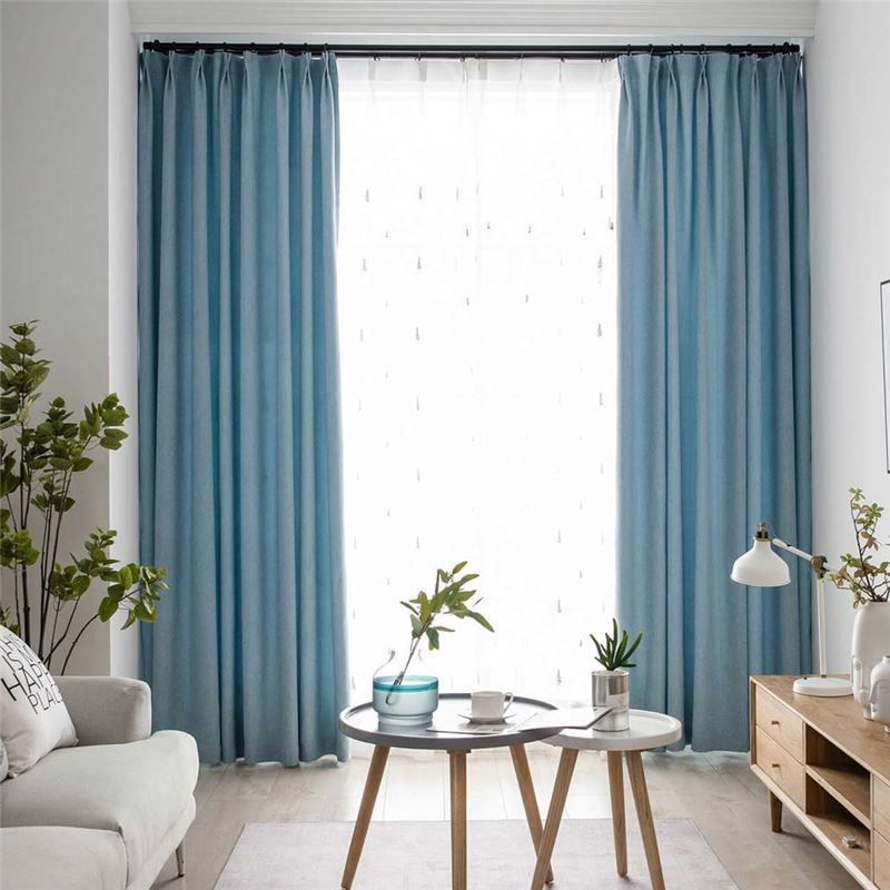 Contemporary Solid Blue Curtain Modern Simple Curtain Living Room