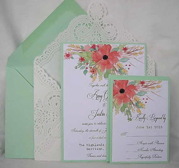 Coral And Mint Wedding Invitations: Wedding Invitation Coral Peach Mint Green By