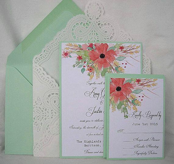 Wedding Invitation Coral Peach Mint green by AllThingsAngelas