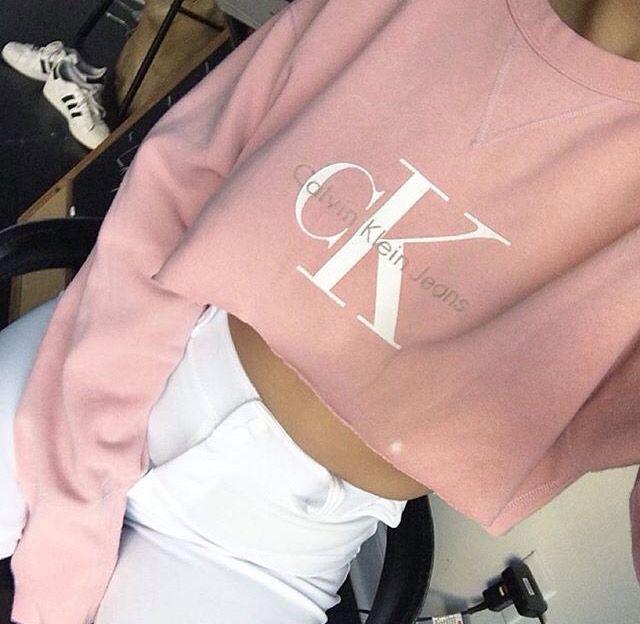 Calvin Klein Pink Cropped Jumper  7ee06df556