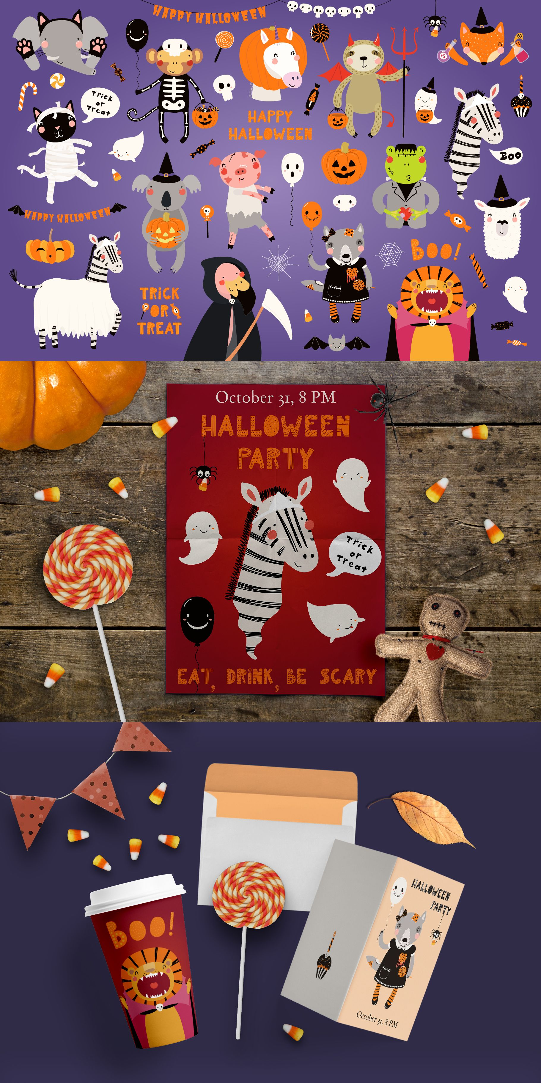 Halloween Party Cute Animals Clipart | Cactus illustration ...