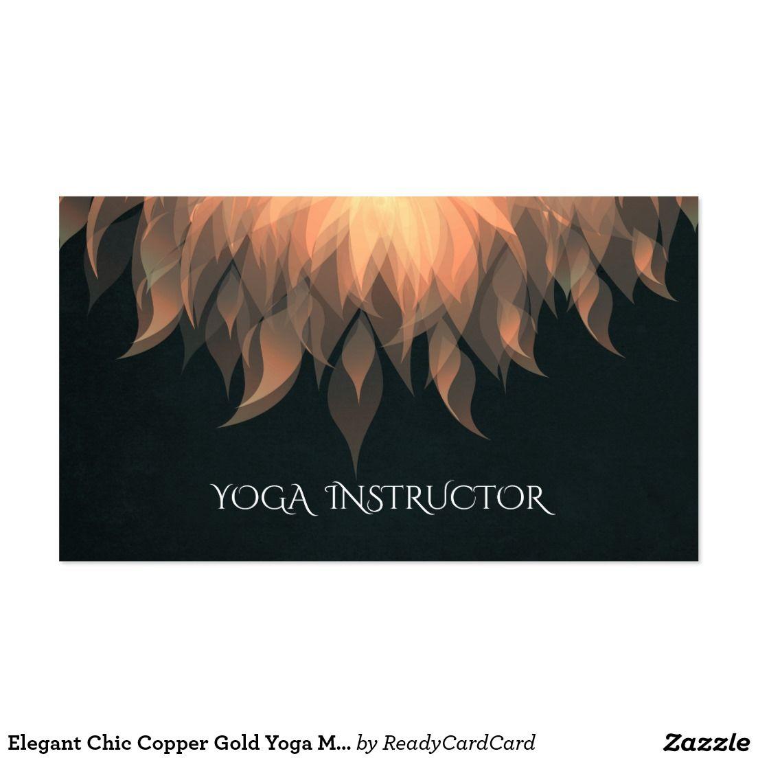 Elegant Chic Copper Gold Yoga Mandala Lotus Floral Business Card ...