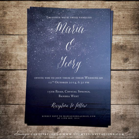 Navy Blue Wedding Invitation Starry Night Wedding Invitation