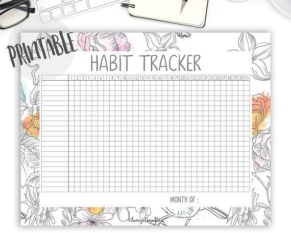 Habit Tracker Printable PDF, Goal Tracker, Self Care, Goal Planner