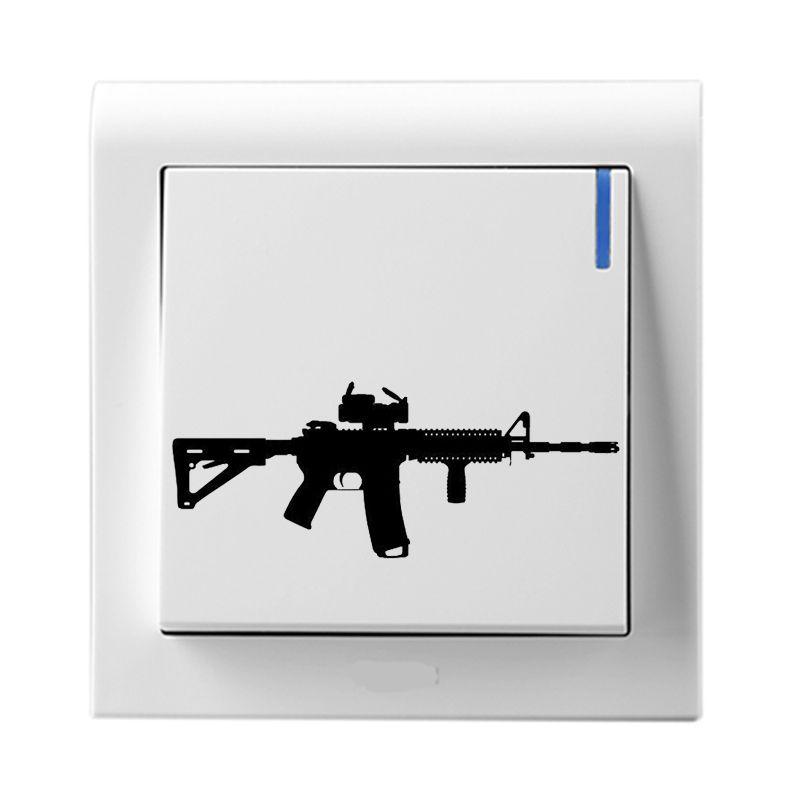 ar-15 gun shooting vinyl wall stickers decor light switch decals