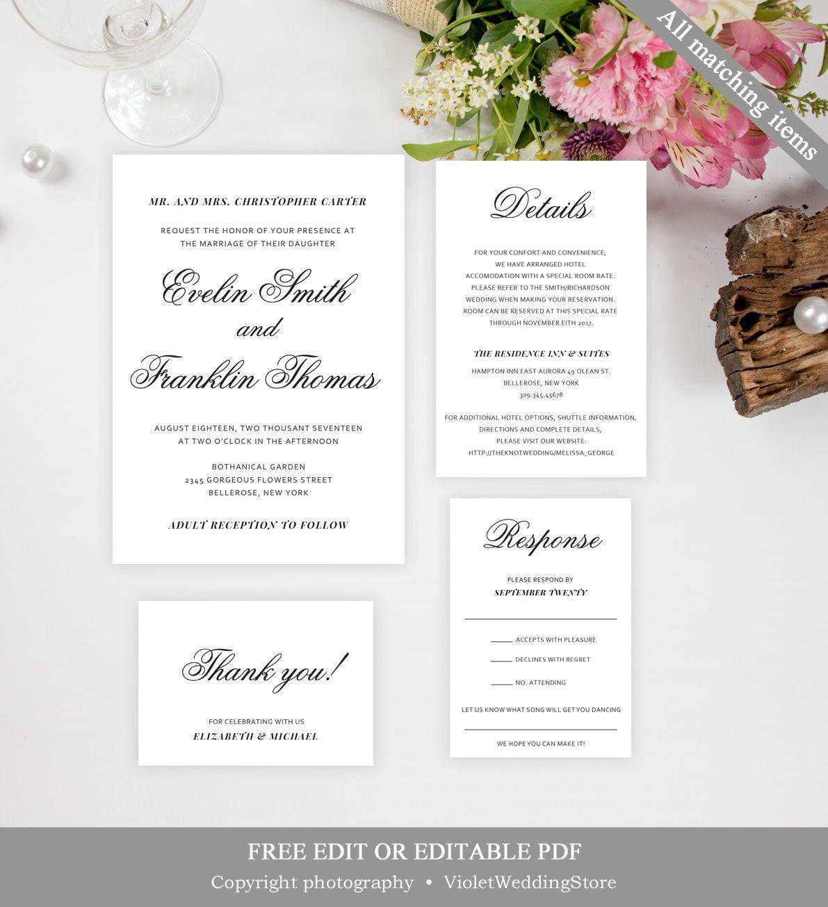 Classic Wedding Invitation Suite Editable Minimalist