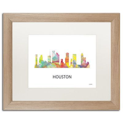 "Trademark Art ""Houston Texas Skyline WB-1"" by Marlene Watson Framed Graphic Art Size: 16"" H x 20"" W x 0.5"" D"