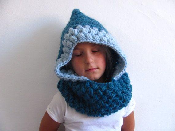 Kids Crochet Hood Handmade Crochet Hat Blue By Alpacablue