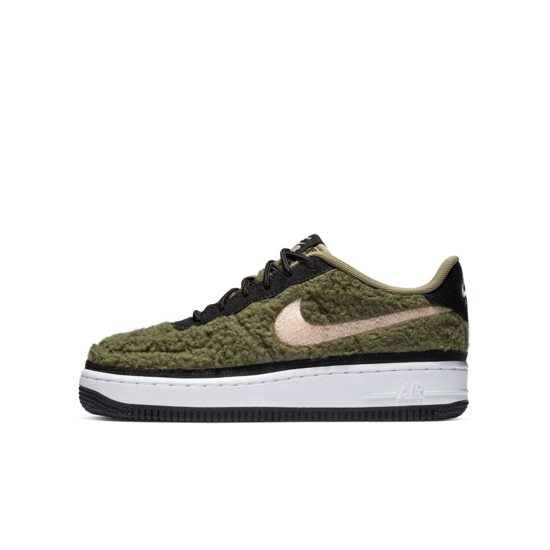 4d10dc4f698 Nike Air Force 1 Sherpa QS Big Kids  Shoe Size 4Y (Olive Canvas) in ...