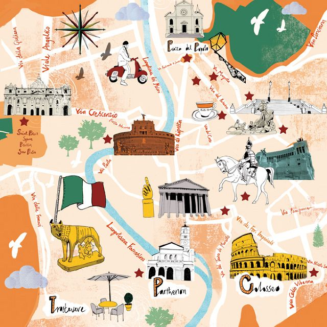Map Of Rome Le Parisien Tonwen Jones Kort Og Illustration